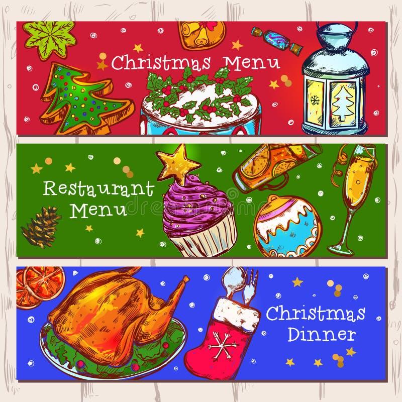 圣诞节被设置的菜单横幅 皇族释放例证