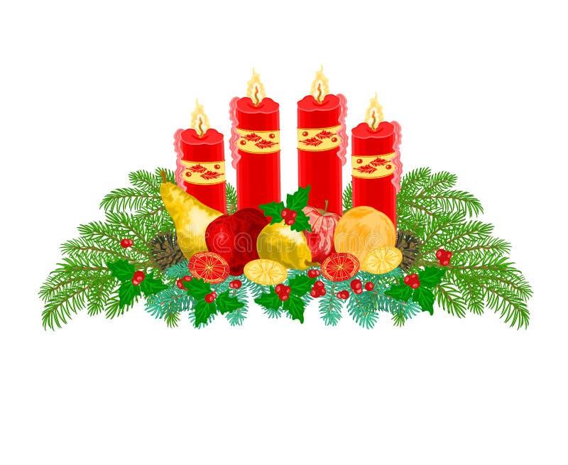 圣诞节装饰与果子传染媒介的出现花圈 库存例证