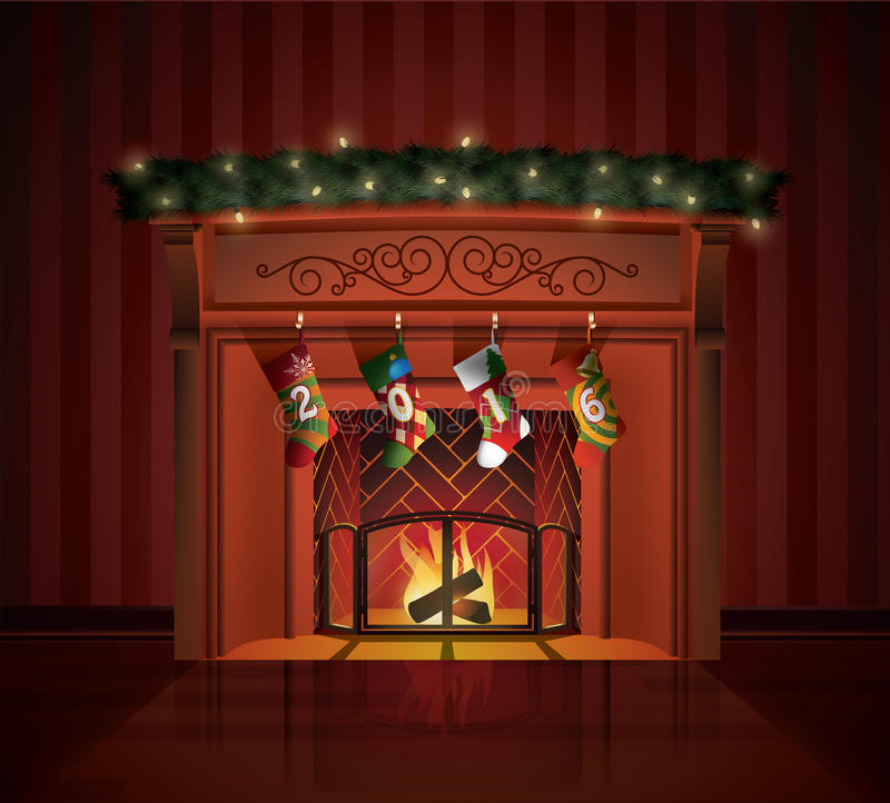 圣诞节装饰了壁炉 库存例证