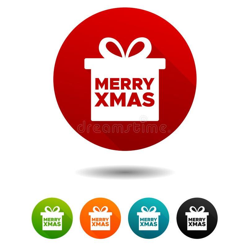 圣诞节装饰了毛皮图标结构树 当前箱子标志 圣诞快乐标志 传染媒介圈子网按钮 皇族释放例证
