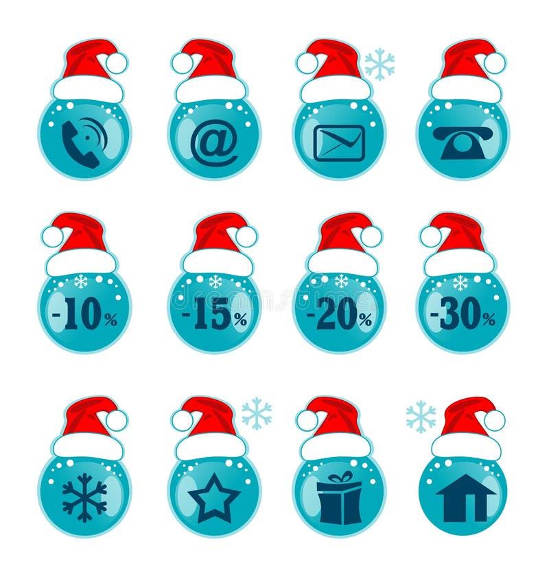 圣诞节装饰了毛皮图标结构树 网站的Xmas标志 库存例证