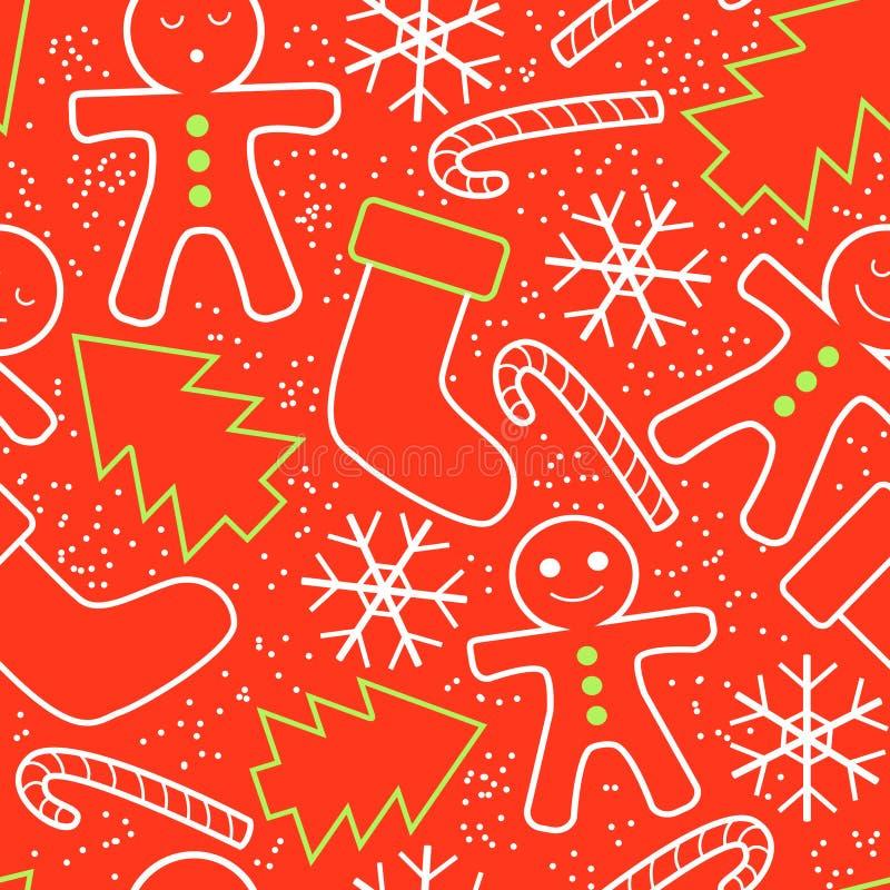 圣诞节装饰仿造无缝 库存例证