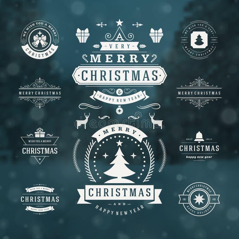 圣诞节装饰传染媒介设计元素 库存例证