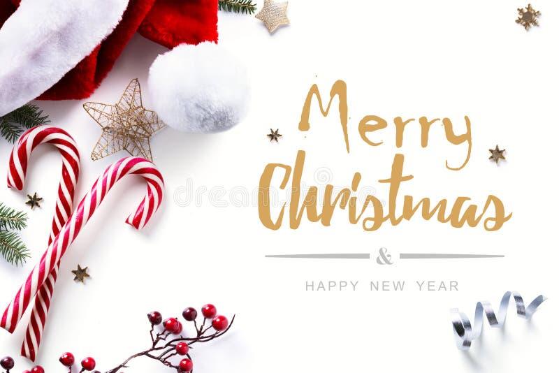 圣诞节装饰和假日甜在白色背景 免版税库存图片