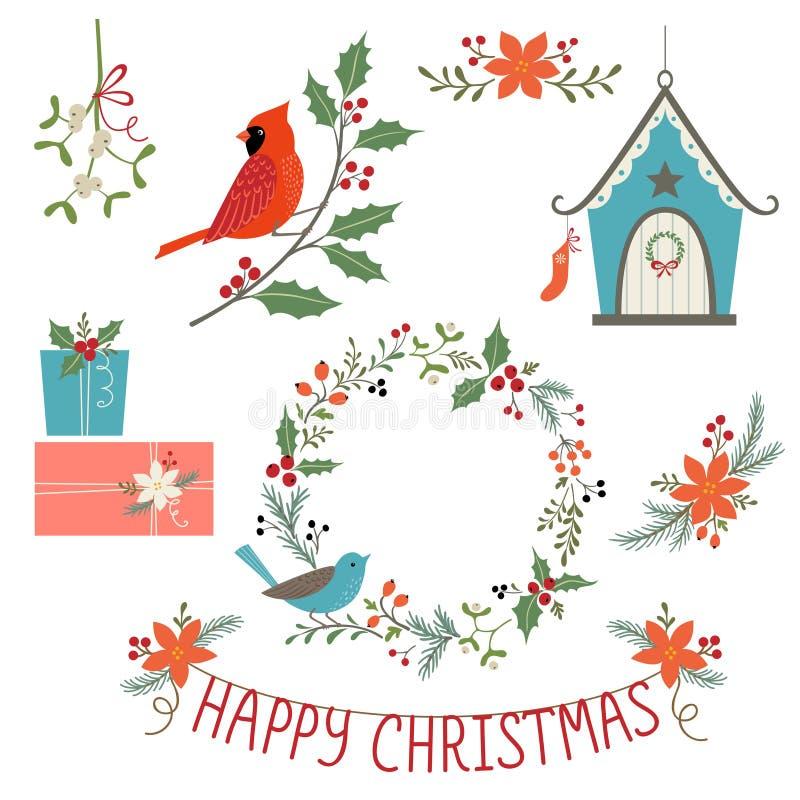 圣诞节装饰和鸟 向量例证