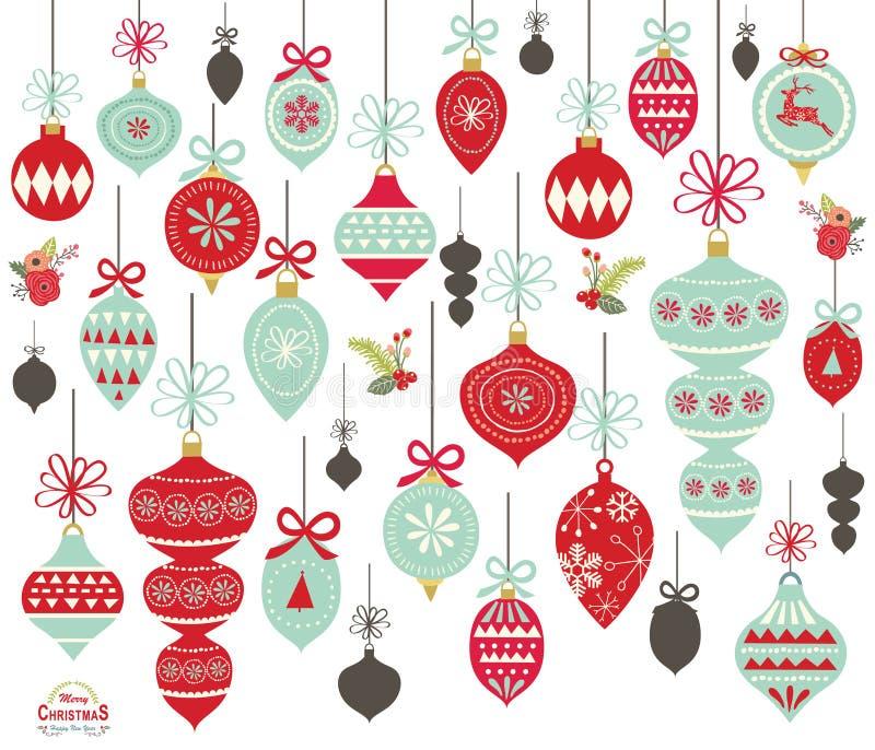 圣诞节装饰品汇集 向量例证