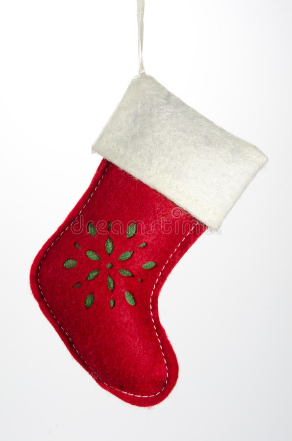 圣诞节装饰品红色长袜 免版税库存照片