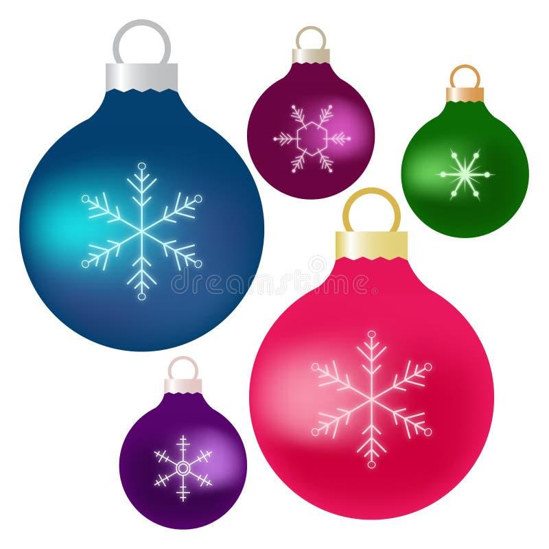 圣诞节装饰品蓝色桃红色绿色紫色颜色 向量例证