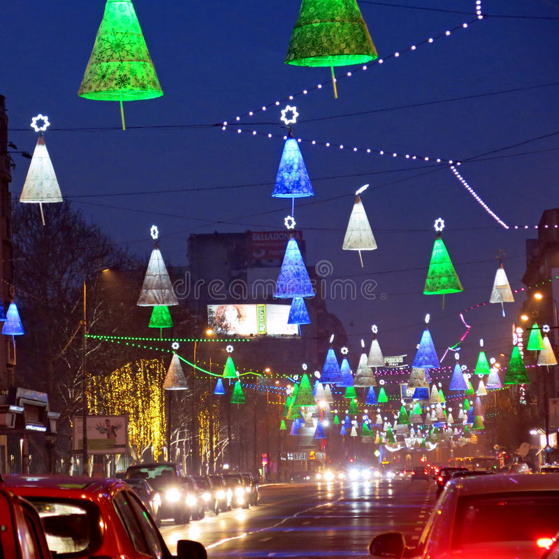 圣诞节装饰在布加勒斯特 库存照片