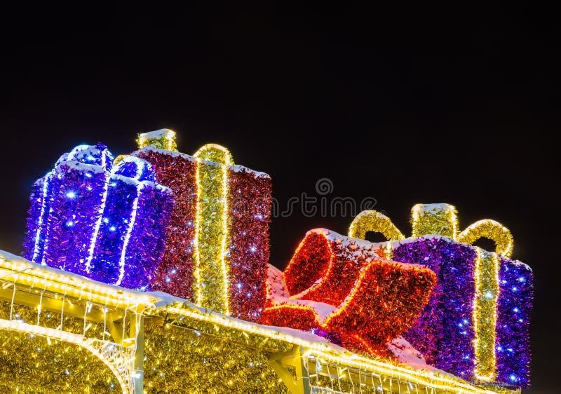 圣诞节装饰在晚上 图库摄影