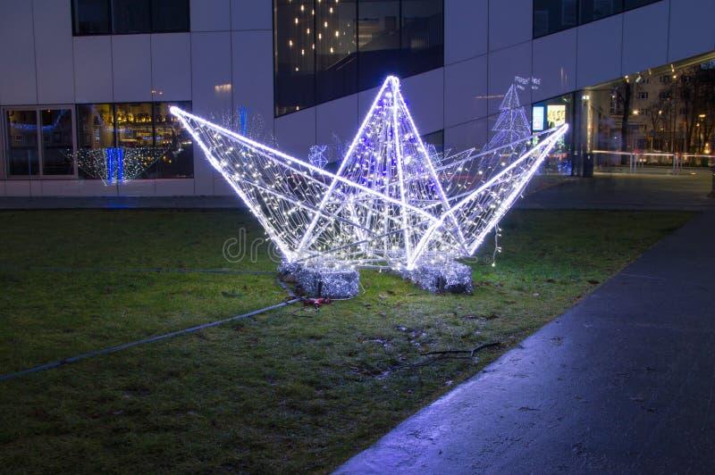 圣诞节装饰在瓦尔德位置在格丁尼亚,波兰 免版税库存图片