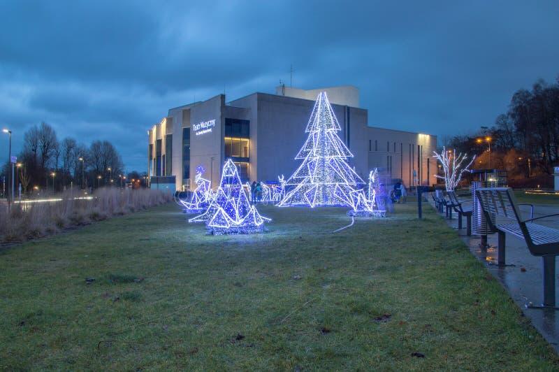 圣诞节装饰在瓦尔德位置在格丁尼亚 库存照片