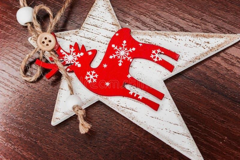 圣诞节装饰手工制造星鹿 免版税图库摄影