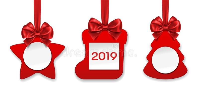 圣诞节装饰新年度 星和袜子 库存例证