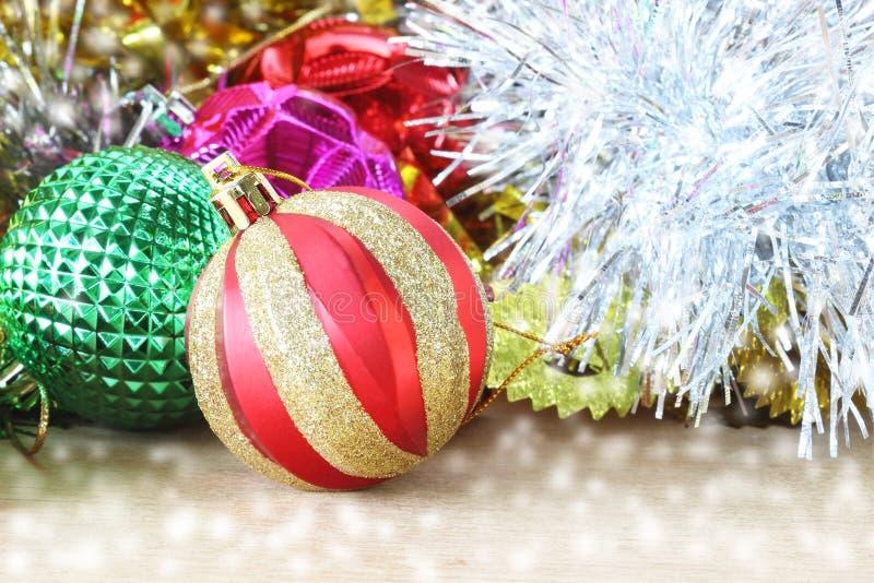 圣诞节装饰木背景 木的装饰 Vintag 免版税库存图片