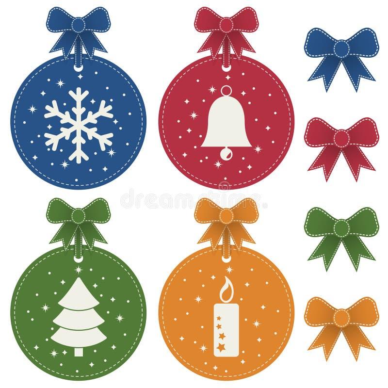 圣诞节装饰查出的标签 皇族释放例证