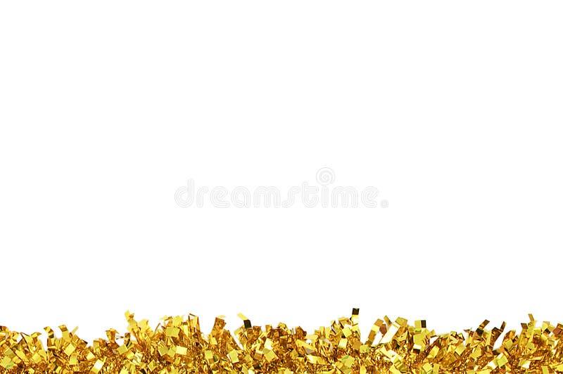 圣诞节装饰的金闪亮金属片 白色孤立 库存照片