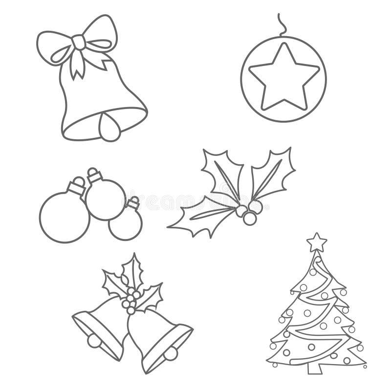 圣诞节装饰着色页 向量例证