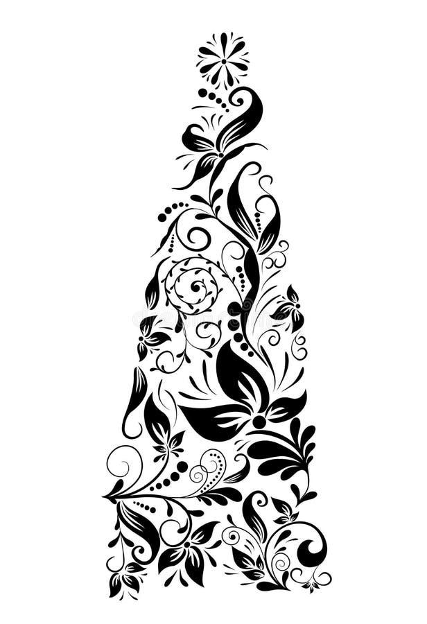 圣诞节装饰花卉结构树向量 皇族释放例证
