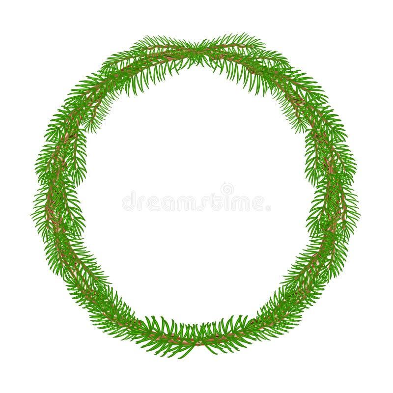 圣诞节装饰花圈圆的框架传染媒介 库存例证
