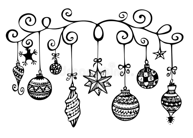 圣诞节装饰草图 向量例证