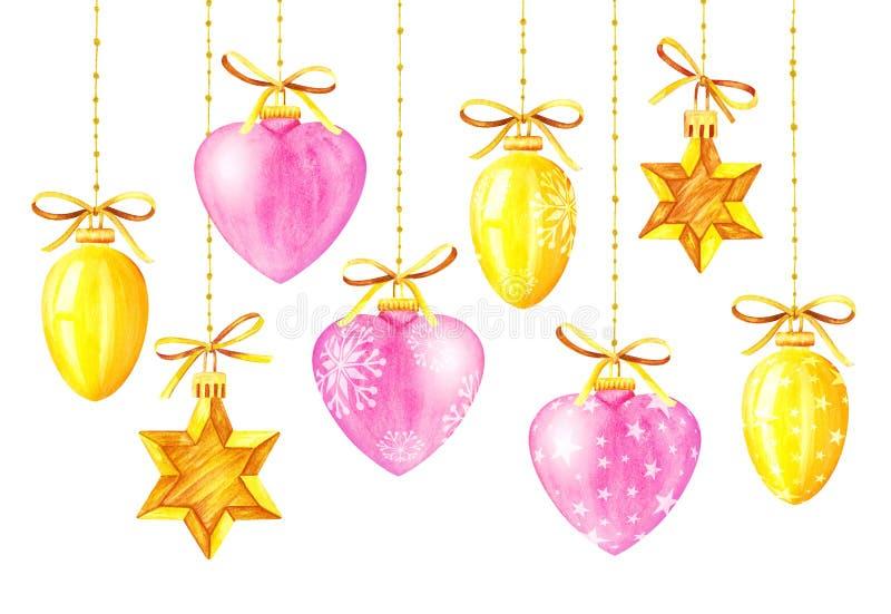 圣诞节装饰装饰新家庭想法 多色球 额嘴装饰飞行例证图象其纸部分燕子水彩 库存例证