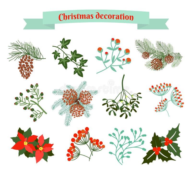 圣诞节装饰装饰新家庭想法 要素例证集合向量 向量例证