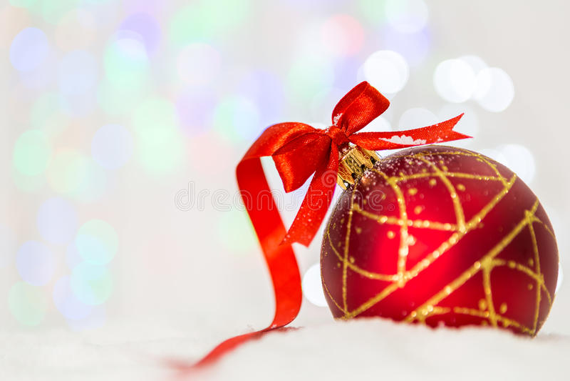 圣诞节装饰重点有选择性的雪 免版税库存照片