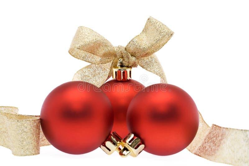 圣诞节装饰金黄红色丝带 免版税图库摄影