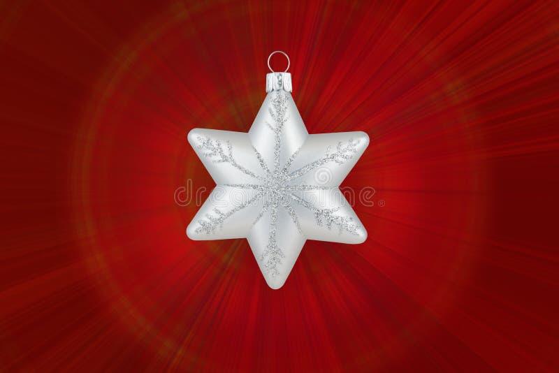 圣诞节装饰银雪花 免版税图库摄影