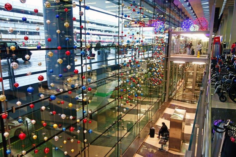 圣诞节装饰,奥黑尔机场,芝加哥 库存照片