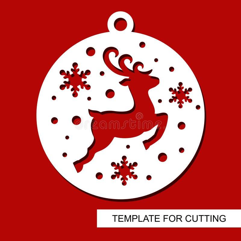 圣诞节装饰-在一个球的鹿剪影与雪花 T 向量例证