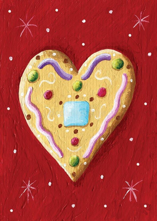 圣诞节装饰-姜饼心脏 向量例证