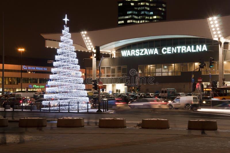 圣诞节装饰-火车站在华沙 库存照片
