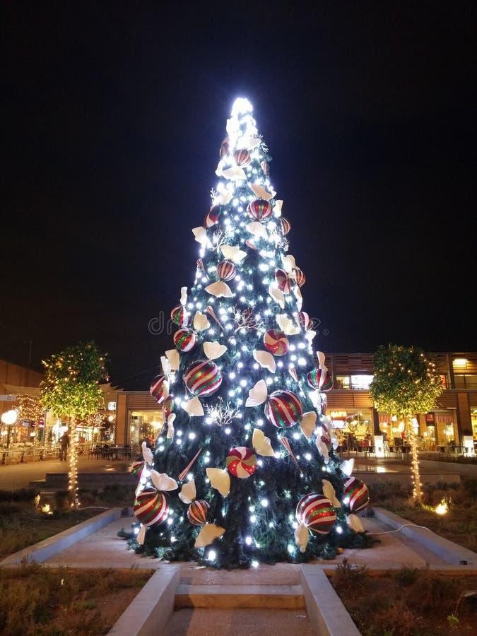 圣诞节装饰xmas树雅典希腊 免版税库存照片