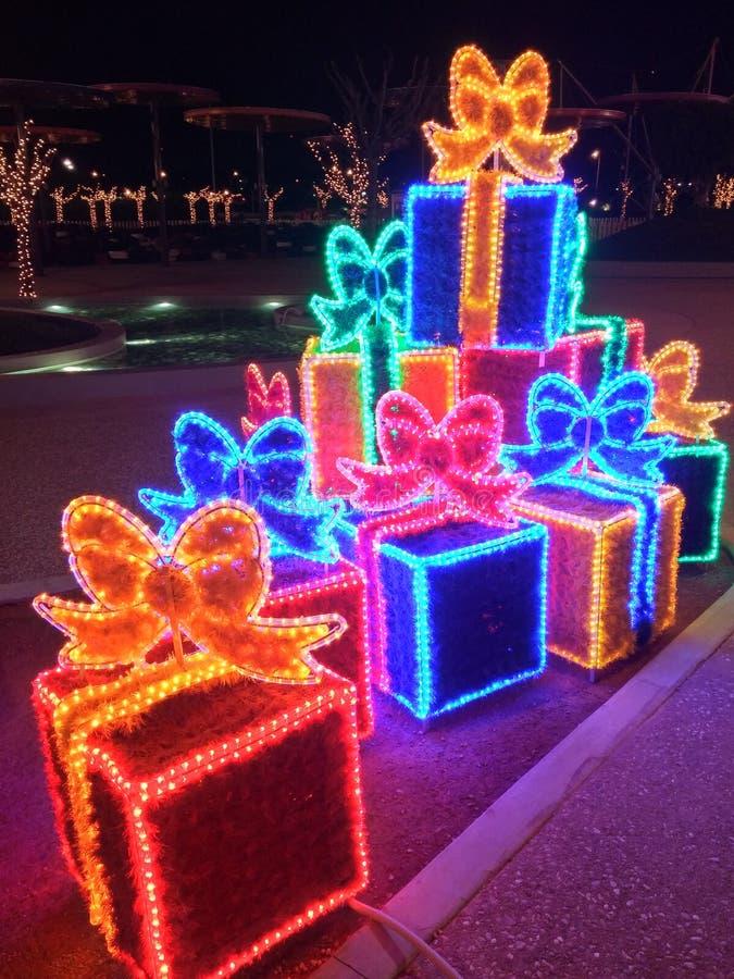 圣诞节装饰xmas礼物盒 库存照片