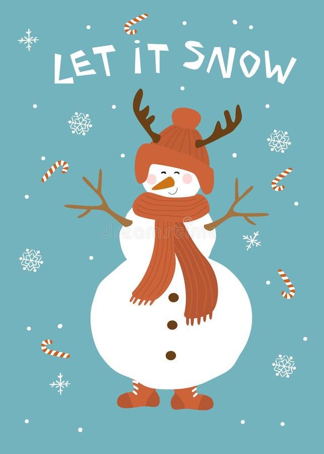 圣诞节让它雪与逗人喜爱的雪人的贺卡在蓝色背景传染媒介例证 向量例证