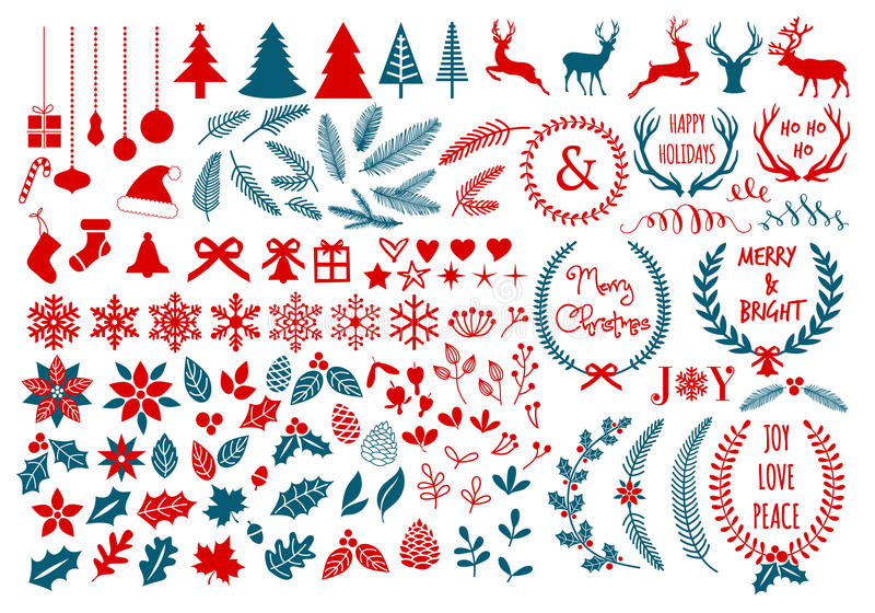 圣诞节设计元素,传染媒介集合 向量例证
