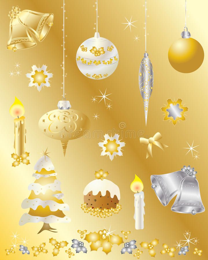 圣诞节设计要素金集合银 向量例证