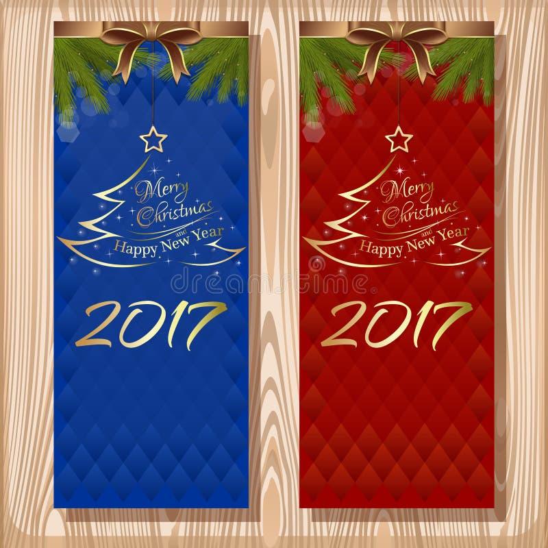 圣诞节设计集合 圣诞快乐和新年快乐2017年 向量例证