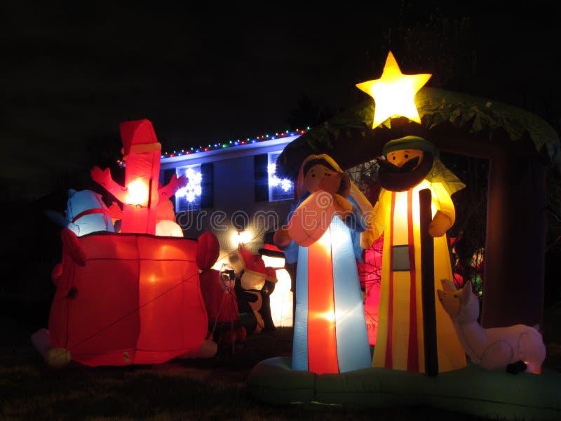 圣诞节诞生在晚上 免版税库存图片