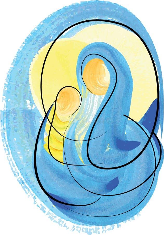 圣诞节诞生场面、母亲和儿童圣母玛丽亚和小耶稣 库存例证
