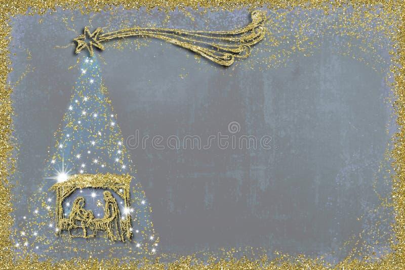 圣诞节诞生场面和树贺卡 向量例证
