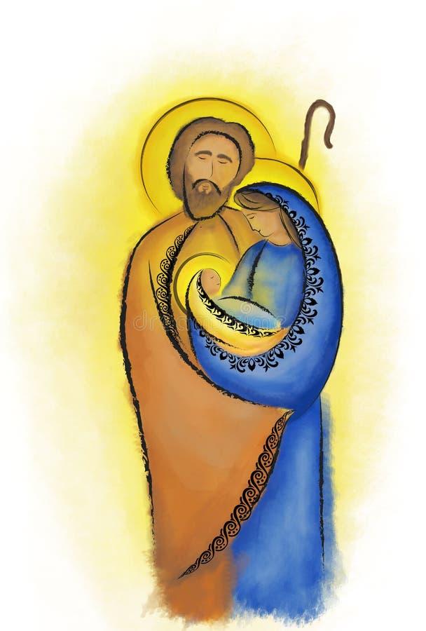 圣诞节诞生场面圣洁家庭玛丽约瑟夫和孩子耶稣 库存例证