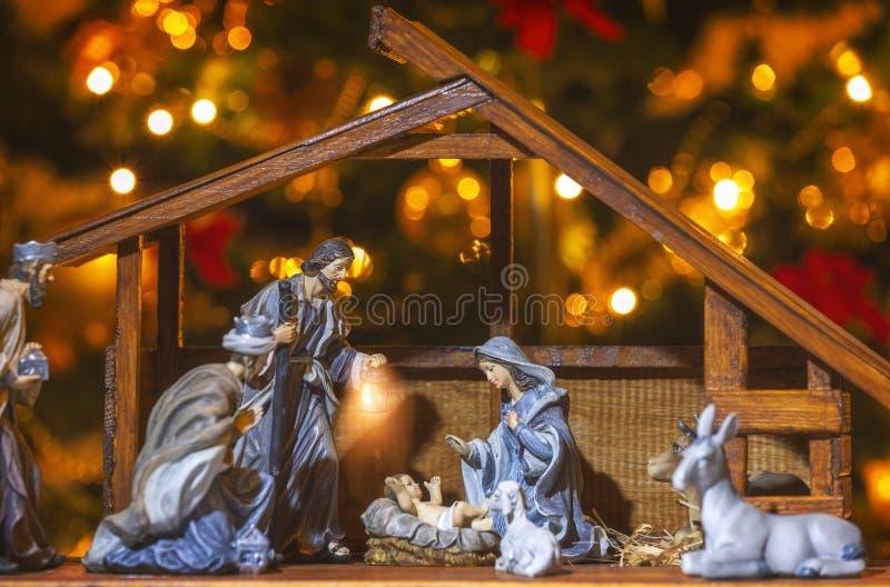 圣诞节诞生场面;耶稣基督、玛丽和约瑟夫 免版税库存照片