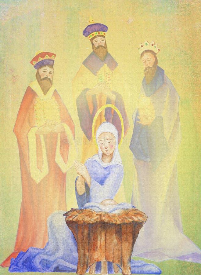 圣诞节诞生魔术家突然显现油画水彩3婴儿耶稣国王母亲和孩子玛丽和 库存例证