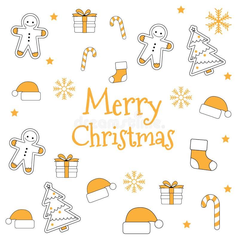 圣诞节象集合无缝的样式 Xmas和新年假日 库存例证