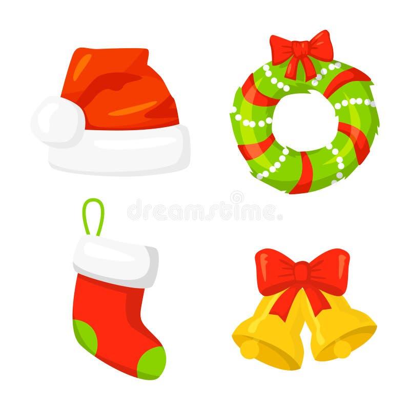 圣诞节象集合汇集传染媒介 动画片 新年传统标志 象对象 花圈、响铃、盖帽和袜子 皇族释放例证