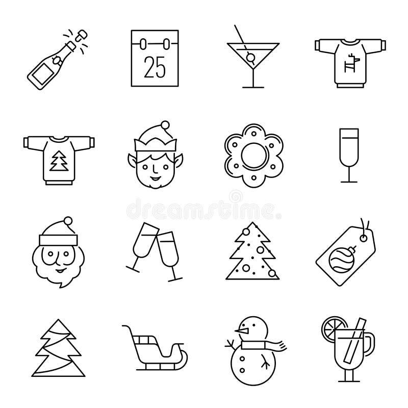 圣诞节象-圣诞老人、矮子和香槟 库存例证
