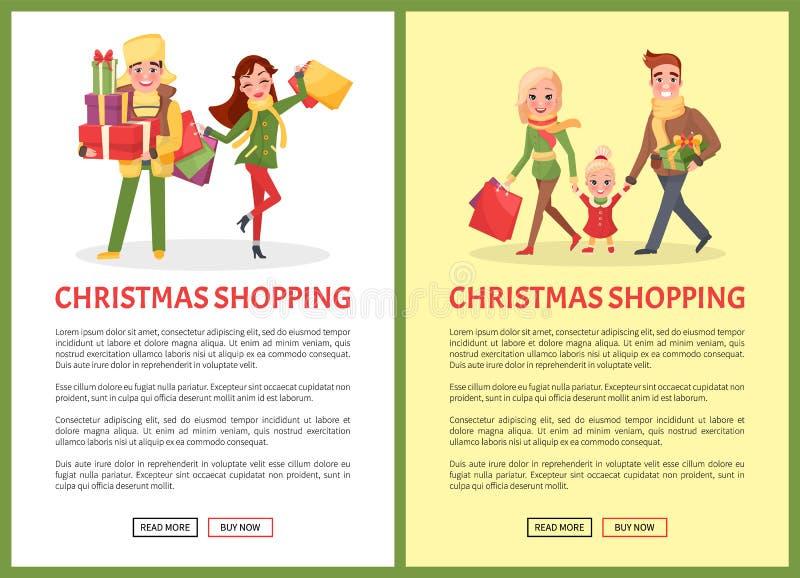 圣诞节购物、幸福家庭母亲和父亲 向量例证